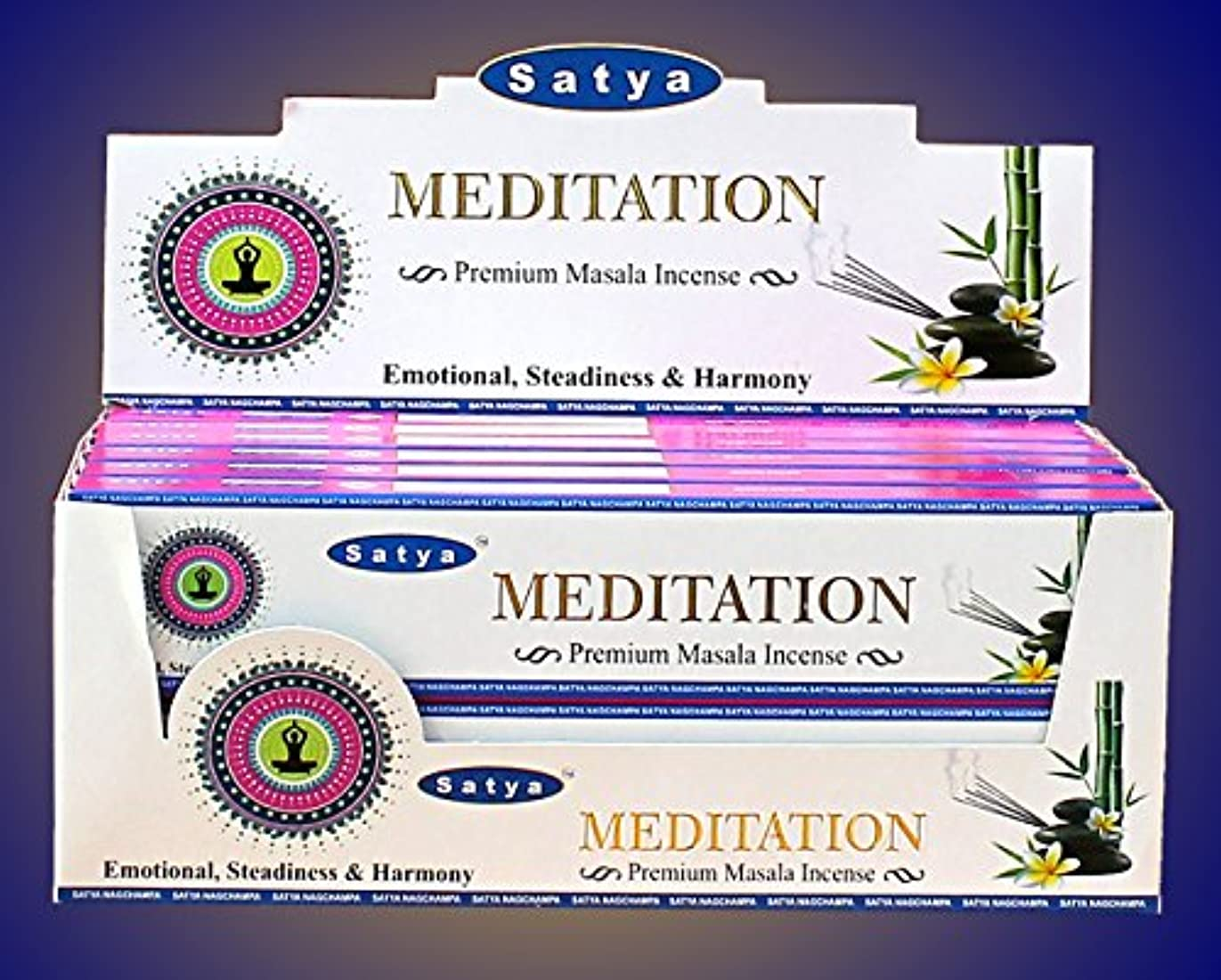 Satya Nag Champa Midnight Incense Sticks – ボックス12パックby Satya
