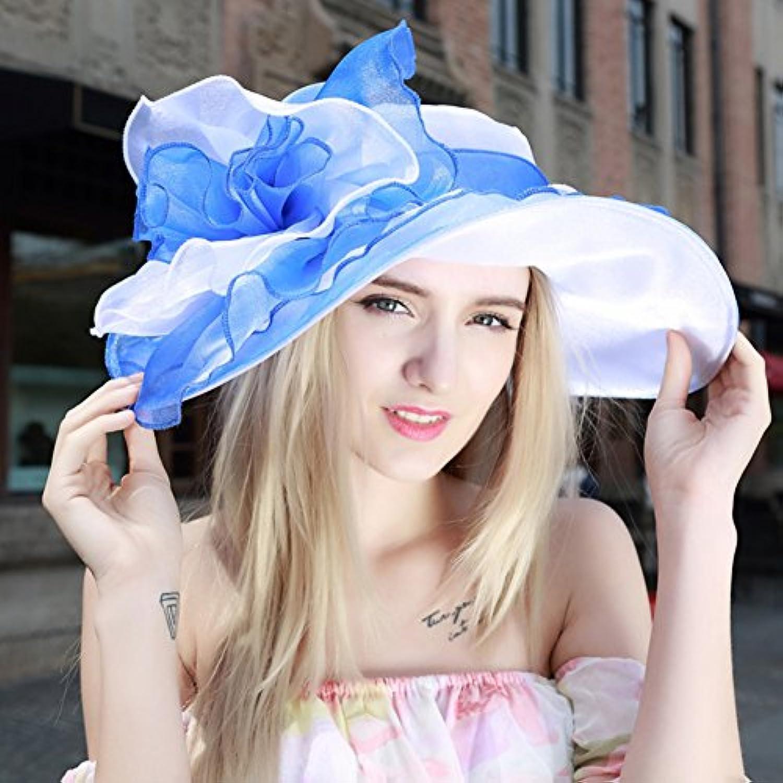 HONEY キャップ レディースバイザーハット   日よけ帽 アウトドア 旅行   休日   調節可能な (色 : 青)