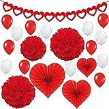 バレンタインデーパーティーデコレーションキット 21個パック レッドハートフェルトガーランドバナー ハートペーパーファン ペーパーポンポン レッド&ホワイト ラテックスバルーン バレンタインの飾りや記念日の背景に最適