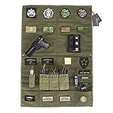 OneTigris ワッペンベース パッチマット 壁掛けポケット付き マジックテープ ホビー収納用 (老竹色)
