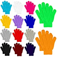 MENOLY 14 Pairs Winter kids Gloves Kids Knit Gloves Warm Stretchy Knitted Magic Gloves for Little Girls Boys Teens