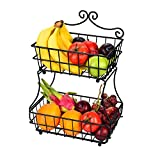 フルーツバスケット 2段 LINKFU ブレッドバスケット アイアン製 簡潔デザイン フルーツかご盛り 家庭用ラック フルーツ スタンド ストレージ用 壁掛け可能 果物かごもり お菓子・果物・小物収納かご キチン雑貨入り 北欧風 分解可能