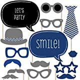 Chevron Navy - Photo Booth Props Kit - 20 Count