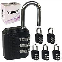 Yuauy 5X ブラック リセット可能 3ダイヤル 桁 組み合わせ パスワード 南京錠 コードロック スーツケース ラゲッジ バックパック 荷物用