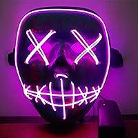 恐ろしい怖いマスクハロウィンwingbindコスプレ光マスクElワイヤLight Upコスチュームマスク用Festivalカーニバルクリスマスパーティーコスプレパーティーギフト One Size レッド WB-000284-LYR