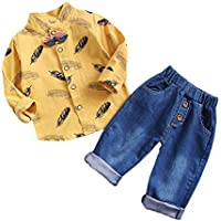 Chumhey Little Boys Striped Bow Tie Leaves Printed Stand Collar T-Shirt Elastic Jeans Pants Set,Blue,3-4 Years