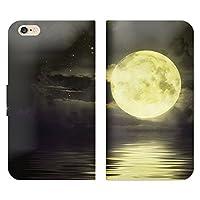 iPhone7 Apple 手帳型 ベルト無し ケース ストラップホール付 月 満月 海 星空 綺麗 月夜 RB003801_04