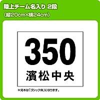 陸上マラソン駅伝ゼッケン・チーム名入り2段(W24cm×H20cm)文字カラー 黒 書体 明朝体