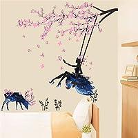 Yxjj1 ロマンチックな花の妖精スイングウォールステッカー用キッズルームの壁の装飾寝室リビングルーム子供女の子ルームデカールポスター壁画