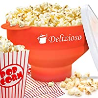 Delizioso Microwave Popcorn Popper–2フリーボーナス、折りたたみ可能なボウル レッド
