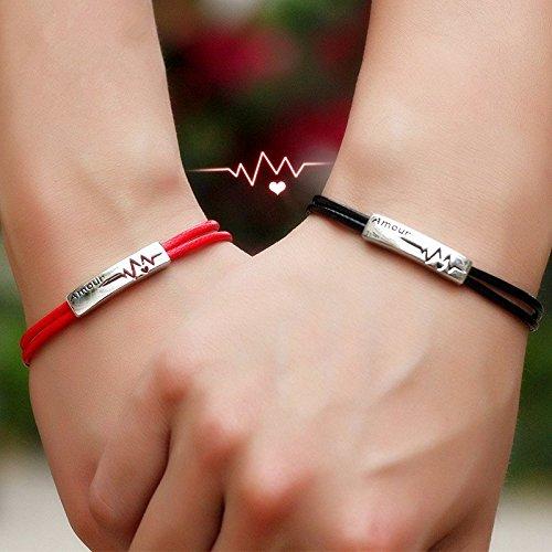 赤い糸・黒い糸 ペアブレスレット 刻印 ブレスレット ペア ...