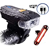 Actionale Mountain Flashlight Waterproof IPX-5, Rechargeable Bike Lights Front and Back, Tail Light Set Sensor 5 Modes LED USB Bright Bike Headlight Cycling Safety for Adults and Kids