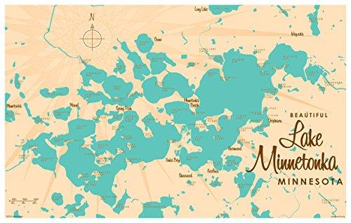 ミネトンカ湖ミネソタマップvintage-styleアートプ...