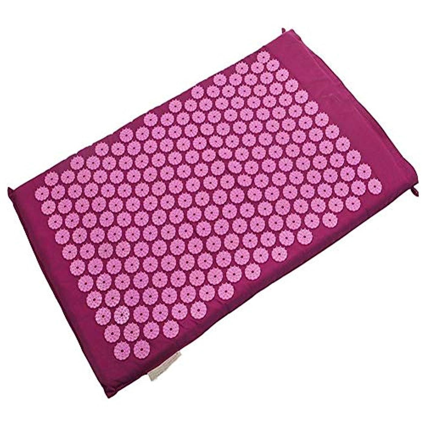 見分けるマイナークレデンシャル鍼massageマッサージヨガマット、オリジナルの指圧枕、首と肩のマッサージ、健康なだめるようなマッサージクッションマッサージクッション,Mat Purple(B)