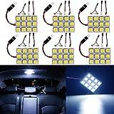 Ever-Bright 12連 5050 ホワイト LED ルームランプ ドームライト 3種類のアダプター付き DC12V専用 6個