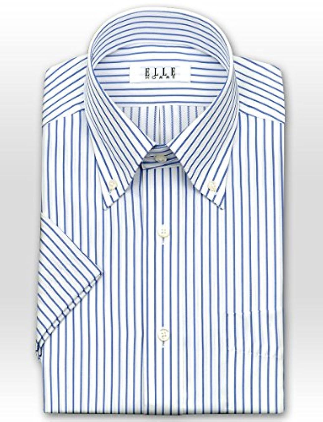 安全性記念碑どう?(エル?オム) ELLE HOMME メンズワイシャツ 半袖 ボタンダウン 形態安定加工 [455-40]