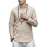 (ヴォンヴァーグ) ventvague 綿麻 無地 長袖 プルオーバー ノーカラー スキッパー カプリシャツ トップス メンズ