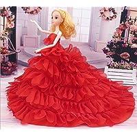Youvinson ドール用 人形 きせかえ バービー 服 ドレス ドール アクセサリー 人形着物 プリンセスドレス 豪華手作り バービー コレクター 人形用 花嫁のウェディングドレス ロングスカート 服 ドレス 飾り物 装飾