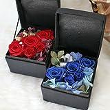 プリザーブドフラワー黒いジュエリーボックス入り「バラの宝石箱」レッド