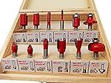 超硬チップ トリマー ルーター ビット径 6.35mm 1/4インチ 汎用セット 硬質炭素鋼 12種 赤