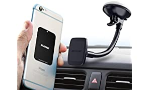 Magnetic Windshield Phone Mount Hexadyium with 6 Magnets to Hold Cellphones Samsung S8 & S8 Plus, iPhone 7 Plus, Top Rated by Uber Drivers- Heavy Duty Adjustable Cell Phone Magnetic Mounting System
