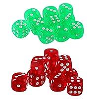 dailymall 20パックD6シックスサイド16mmパールカラーダイスDND MTG RPGワウテーブルゲーム、緑と赤