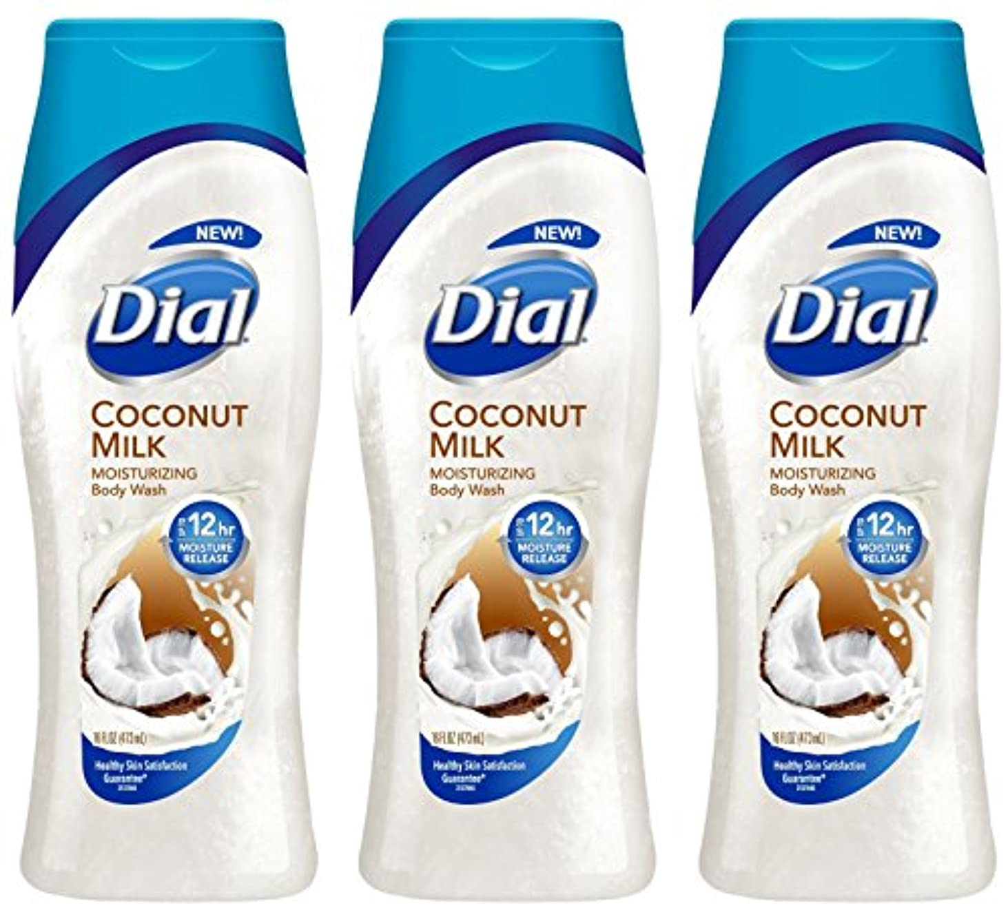 Dial モイスチャライジングボディウォッシュ - ココナッツミルク - 12時間モイスチャーリリース - ネット重量。ボトルあたり16液量オンス(473 ml)を - 3本のボトルのパック