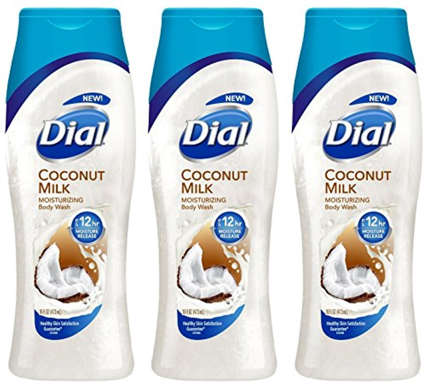 顕現内なる憤るDial モイスチャライジングボディウォッシュ - ココナッツミルク - 12時間モイスチャーリリース - ネット重量。ボトルあたり16液量オンス(473 ml)を - 3本のボトルのパック