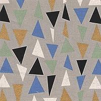 【綿麻キャンバス プリント】キラキラ 三角 1m単位で切り売りいたします (グレー系)