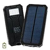 15000mAh モバイルバッテリー ソーラー充電器 大容量 緊急電源 2ポート LEDライト付き (ブラック)