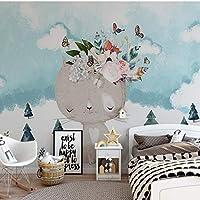北欧モダンミニマリスト漫画子猫の花、子供部屋の壁の大きな壁画、壁紙の壁画208cm(W)x146cm(H)