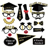BESTOYARD 2019卒業写真の小道具キットクラス2019おめでとうございます面白い写真ブースの小道具笑顔顔学士キャップ小道具卒業パーティープレゼント(18個)