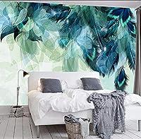 Lcymt カスタム任意のサイズ3Dミニマリズム青い羽壁画現代抽象芸術の壁紙壁のフレスコ画リビングルームの寝室の壁紙-250X175Cm
