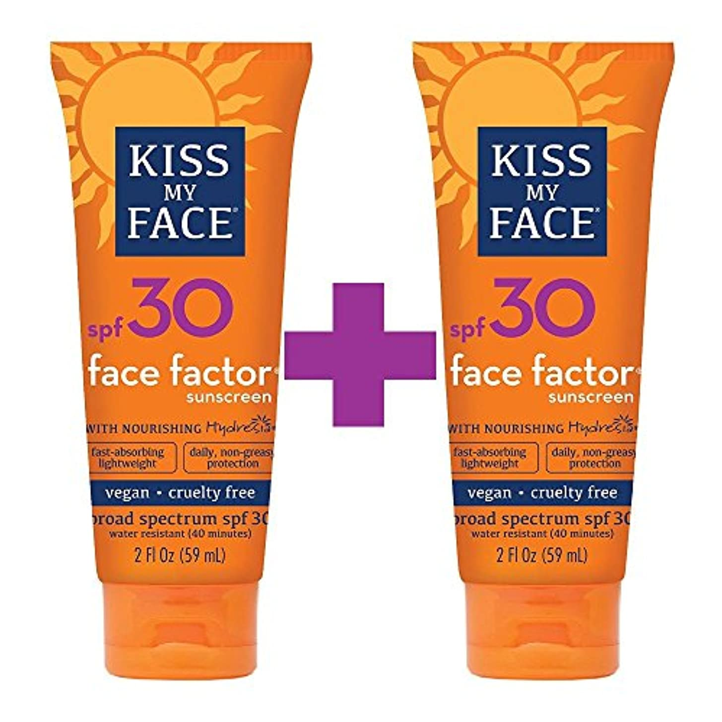 希望に満ちた染色無駄海外直送品Kiss My Face Sun Care Face Factor SPF 30, EA 1/2 OZ (Pack of 2)