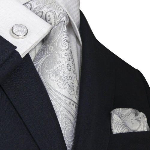 Landisun 21N ペイズリー メンズ シルク ネクタイ セット:ネクタイ+ハンカチ+カフス シルバー ホワイト, 148x9.5cm