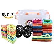 幾何学認知 磁石ペース80モデルDIY 子どもおもちゃ 積み木 四角、三角、長三角、車輪 - 創意プ...