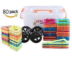 幾何学認知 磁石ペース80モデルDIY 子どもおもちゃ 積み木 四角、三角、長三角、車輪 - 創意プレゼント想像力を育てる知育玩具