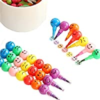 Unetox Colourful Paint Crayons Painting Pencil with Lovely Cartoon Face 7 in 1 Stackable Graffiti Pens for Kids