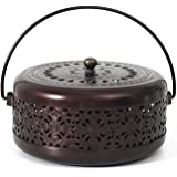 Whthteey Classical Design Mosquito Coil Holder with Handle Round Iron Mosquito Incense Burner for Home (Bronze)