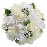 Amazon.co.jpOurwarm® ウェディングブーケ ブライダルフラワー 約23x26cm 結婚式 花嫁 披露宴 バラ 花束 (Ivory)