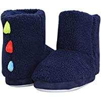 LA PLAGE Kids Winter Indoor/Outdoor Plush Soft Knit Monster Bootie Slippers with Anti Slip Sole(Boys/Girls)