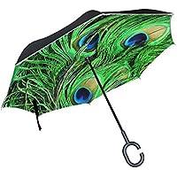 逆さ傘 逆折り式傘 車用 日傘 長傘 フェザー 緑 UVカット 手離れC型手元 撥水加工 晴雨兼用 耐風 124センチ