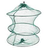 uxcell 魚捕り網かご 漁具 エビ釣りの網 釣りもの保存 グリーン 立柱形 折りたたみ型 30cm ひも付き閉鎖 プラスチック 緑