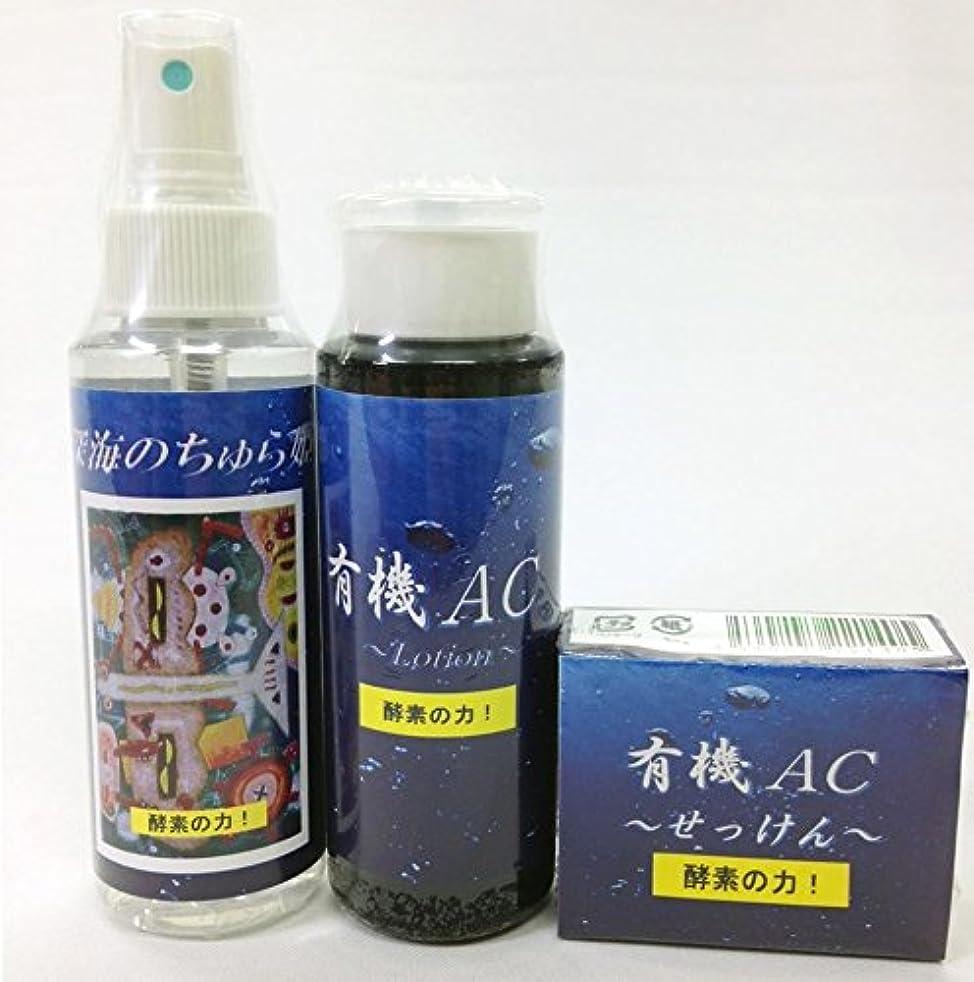 シーサイド代理人鳴らす美容コスメ 3点セット 沖縄EEN 有機質炭素を配合した化粧水?ローション?石けんのセット