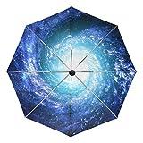ALAZA 自動開閉式折りたたみ傘 星雲柄 星団柄 星柄 螺旋柄 銀河柄 宇宙柄 カスタムデザイン PUコーティング 8本骨 ケース付き 3段折 梅雨対策 プレゼント