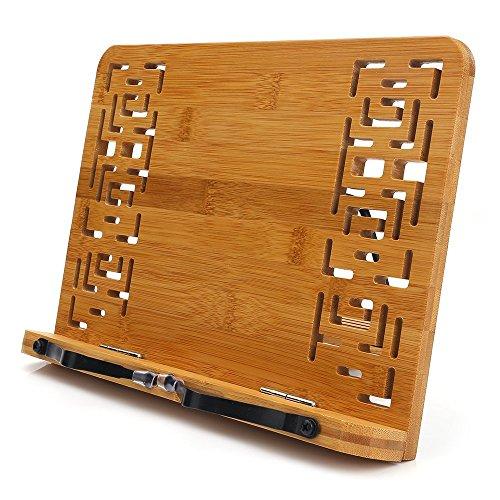 書見台,HENGSHENG 5段階調節 ブックスタンド 筆記台 読書台 肩こり解消 木のぬくもり折りたたみ式 軽い 移動式 多用途 全面竹製使用した
