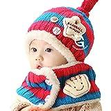 HBF ニット帽 マフラー セット ベビー キッズ 子供 赤ちゃん 用 防寒 かわいい ニット 帽子 キャップ ハット 誕生日 出産祝い 赤+ブルー