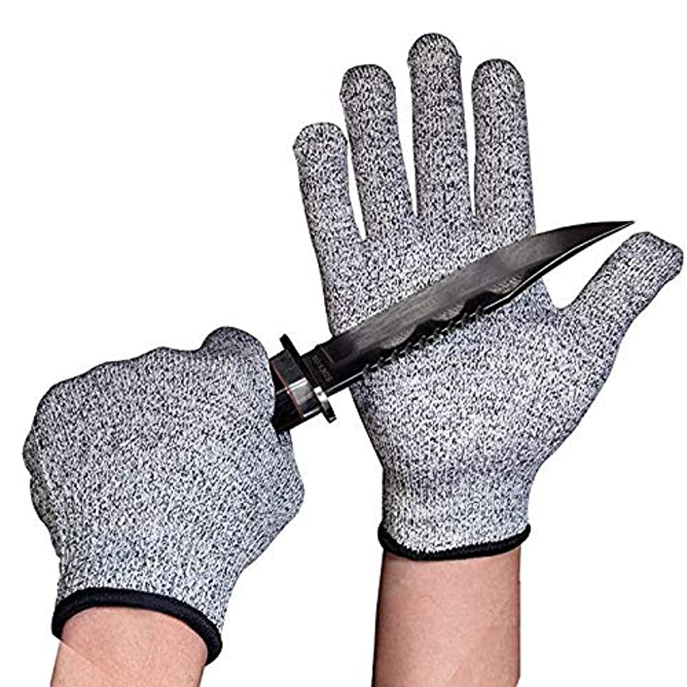 松明投げる降下キッチン、切断、庭やマンドリンスライスのためカット耐性の手袋食品グレードレベル5の保護安全ワークグローブ,L