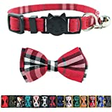 Cat Collar Breakaway with Bell and Bow Tie, Plaid Design Adjustable Safety Kitty Kitten Collars Set of 2 PCS(6.8-10.8in) (Red Plaid 1)