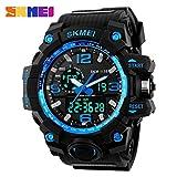 SKMEI スポーツ時計 防水腕時計 新しい高級ブランド LED 超クールなメンズ クォーツ アナログ デジタル 時計 男 ブルー